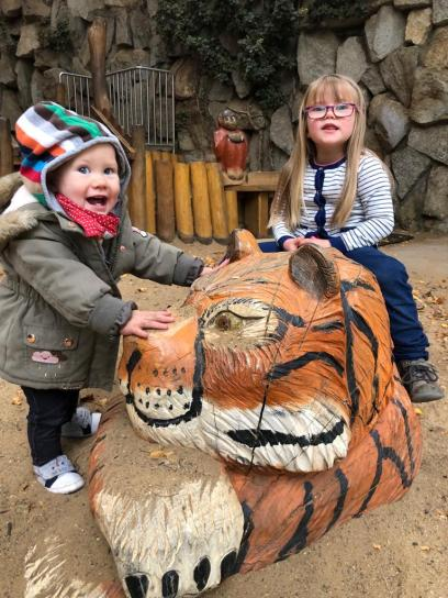 two kids and tiger play area