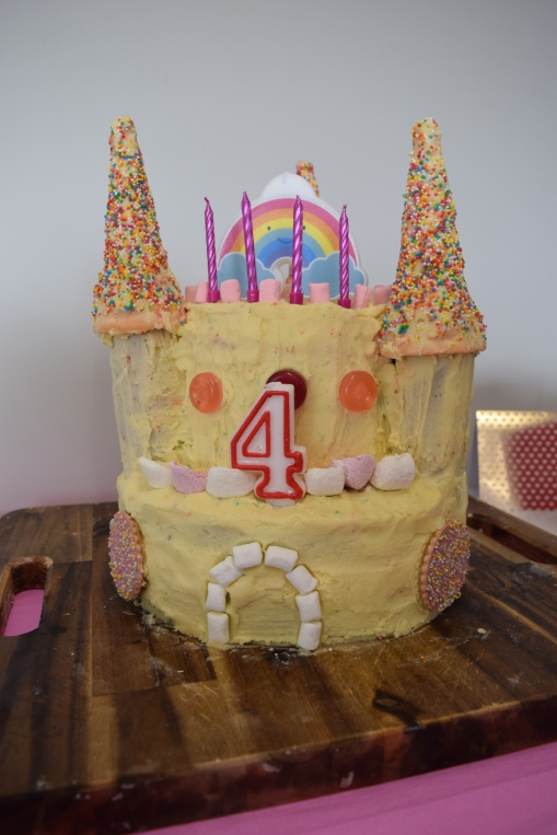 the rather monstrous castle cake I made